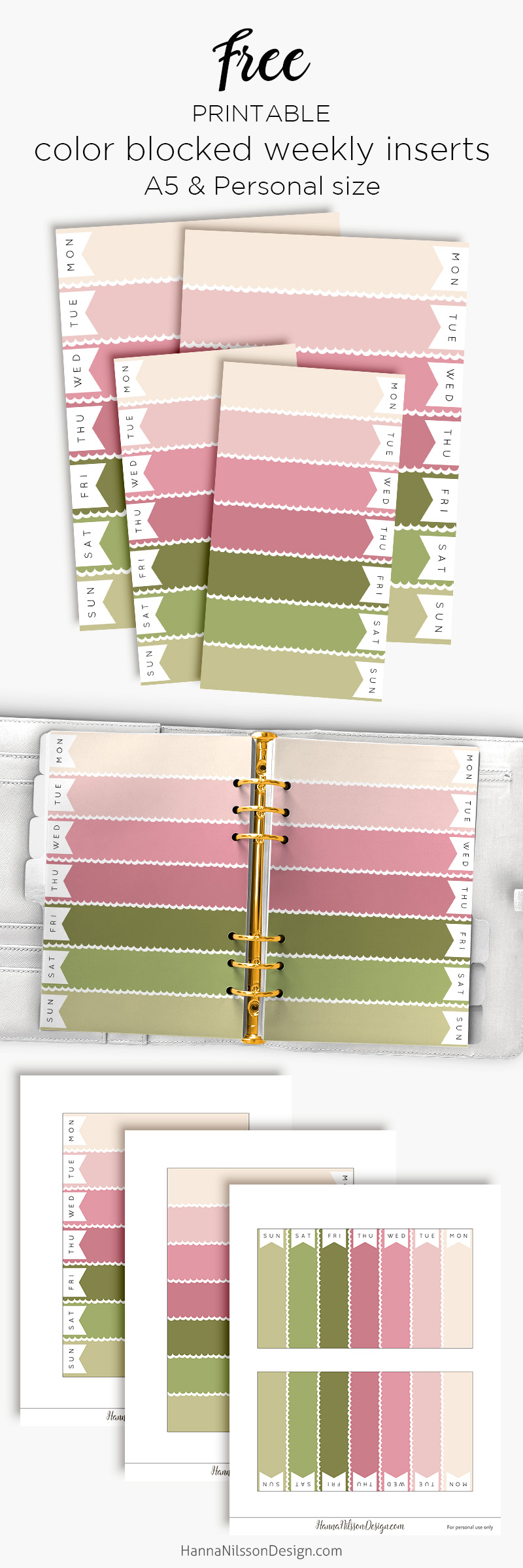 graphic relating to Free A5 Planner Printables known as Purple spring coloration blocked weekly planner inserts No cost