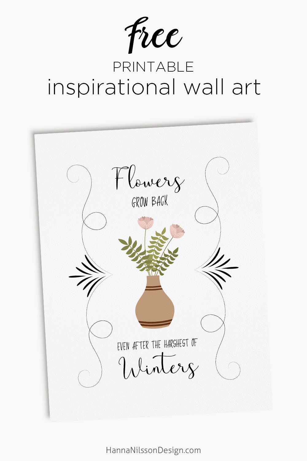 graphic relating to Free Printable Wall Art Flowers identified as Bouquets mature again inspirational wall artwork printable Hanna