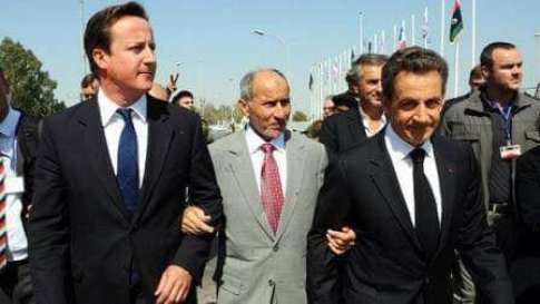 Sarkozy, Jalil and Cameron Libya war 2011
