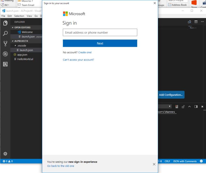 sandbox vscode login