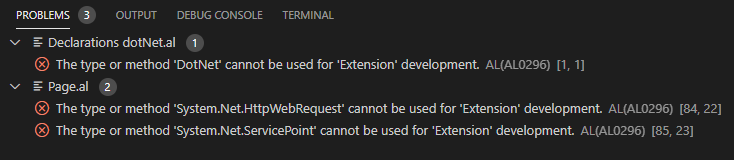 A screenshot of problems related to Extension-development.