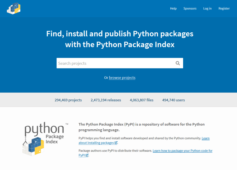 A screenshot of the pypi.org website.
