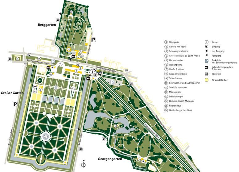 Übersichtskarte der Herrenhäuser Gärten