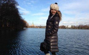 Moncler coat & Benetton beret