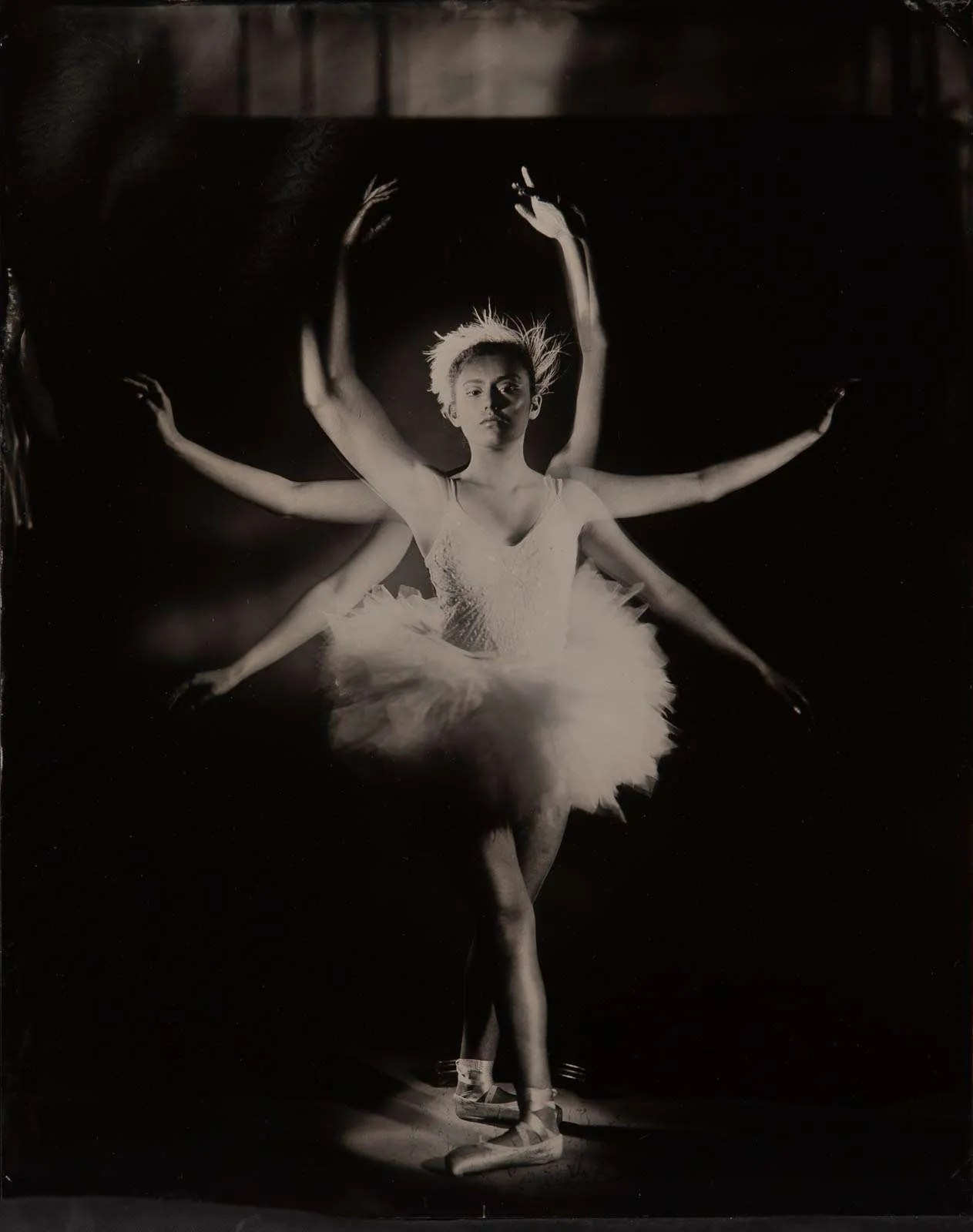 Light painting ballerina talent from The Dutch National Ballet Academie on ambrotype wet plate collodion
