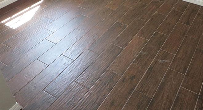 apply grout on wood look tile floor