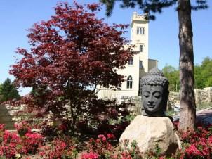 Herrliche Aussichten bietet dieser Gartenpark in seinem japanischem Bereich. Der Blick auf das Keppschloss wird untermalt mit blühenden Azaleen.