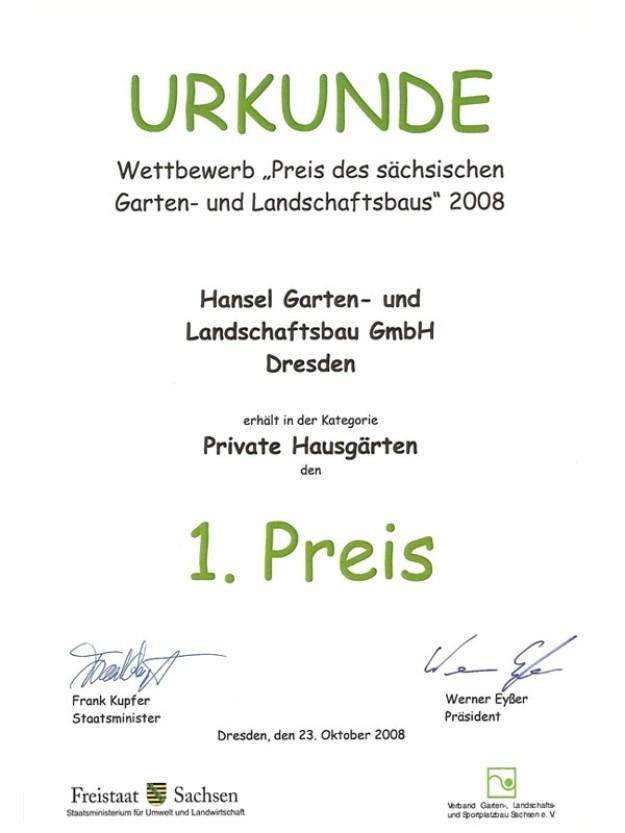 """1. Preis im Wettbewerb """"Preis des sächsischen Garten- und Landschaftsbaus"""" 2008 in der Kategorie """"Private Hausgärten"""""""