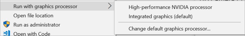 Right Click | Run with Graphics Processor