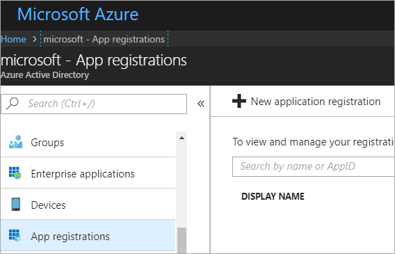 Add a new App Registration in the Azure Portal