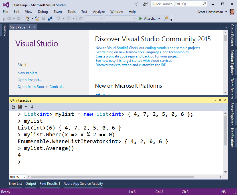 C# Interactive REPL inside Visual Studio