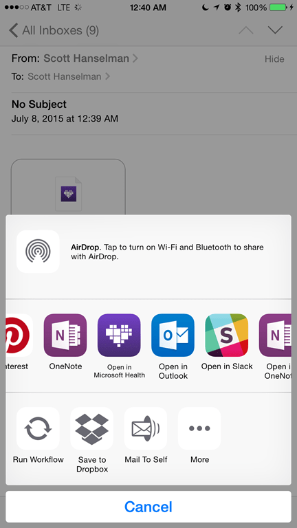 Emailing a WebTile to myself
