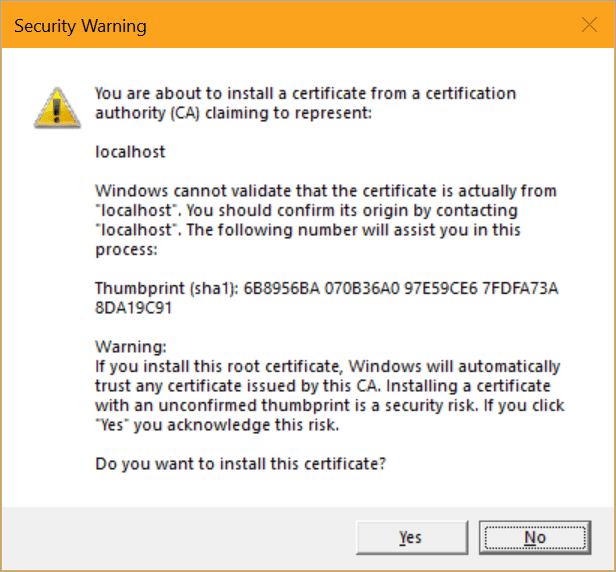 You want to trust this local cert?