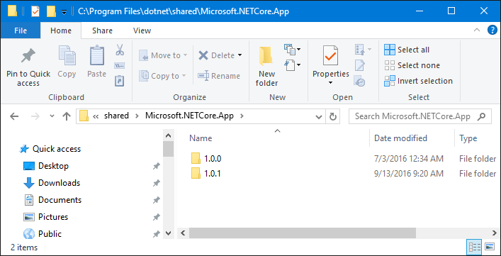 Where is .NET Core installed to?