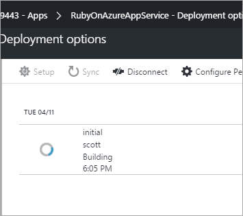 Azure deploying the Rails app