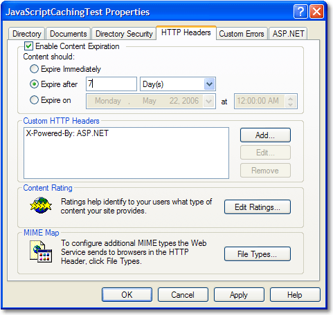 Forcing an update of a cached JavaScript file in IIS ...