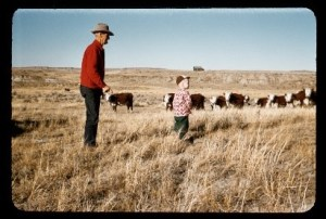 Grandpa Billy Hanson with Bill Hanson. City kid home on the range. WY 1953