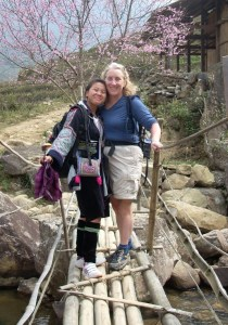 Kate Troll and guide. Trekking in Vietnam.