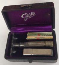 Billy Hanson's Gillette safety razor in leather case.