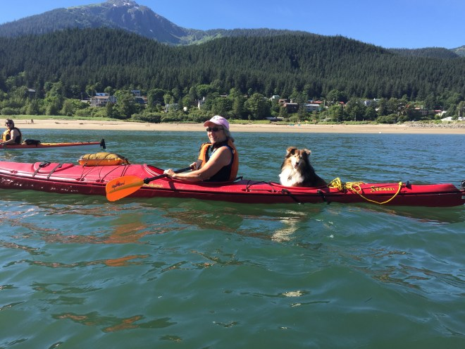 Kate Troll & Nellie the Sheltie kayaking in Gastineau Channel Close