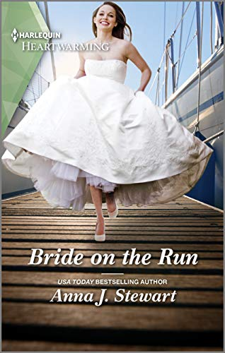 Book cover showing a bride in a flowing gown running down the wooden planks of a boat dock.