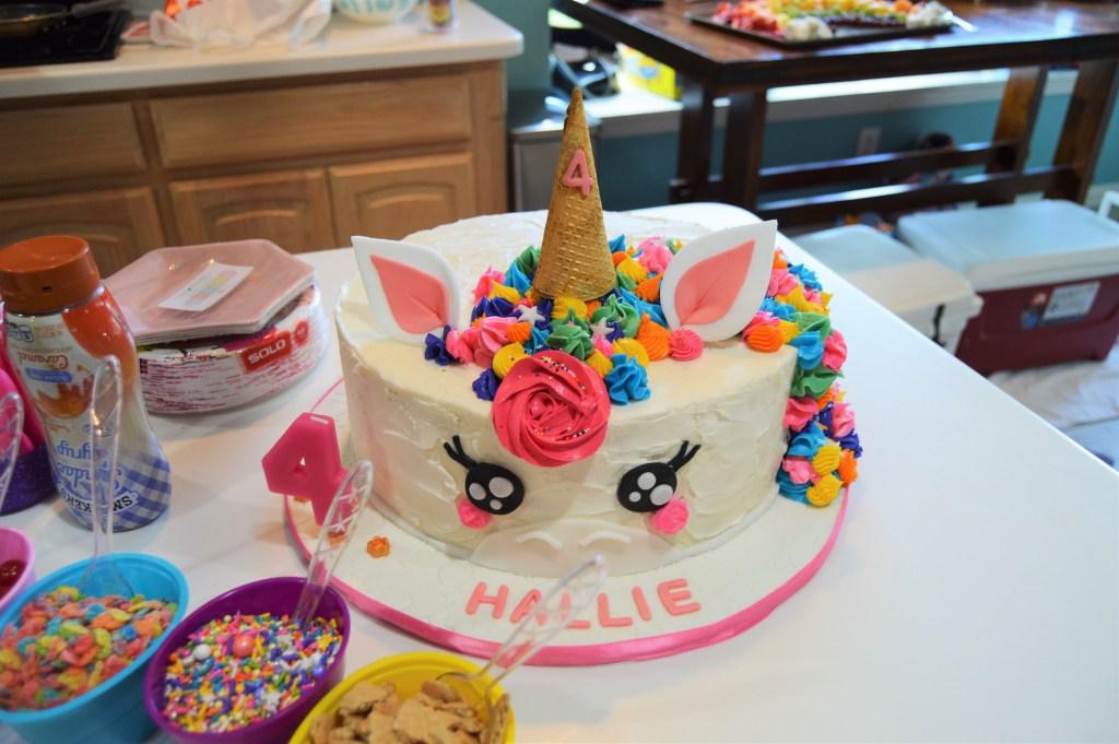 Wondrous Hallies Rainbow Unicorn Ice Cream 4Th Birthday Party Funny Birthday Cards Online Alyptdamsfinfo