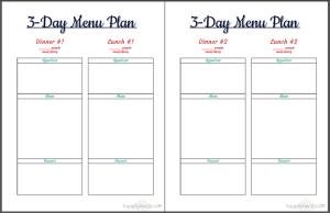 3-day menu planner 3page