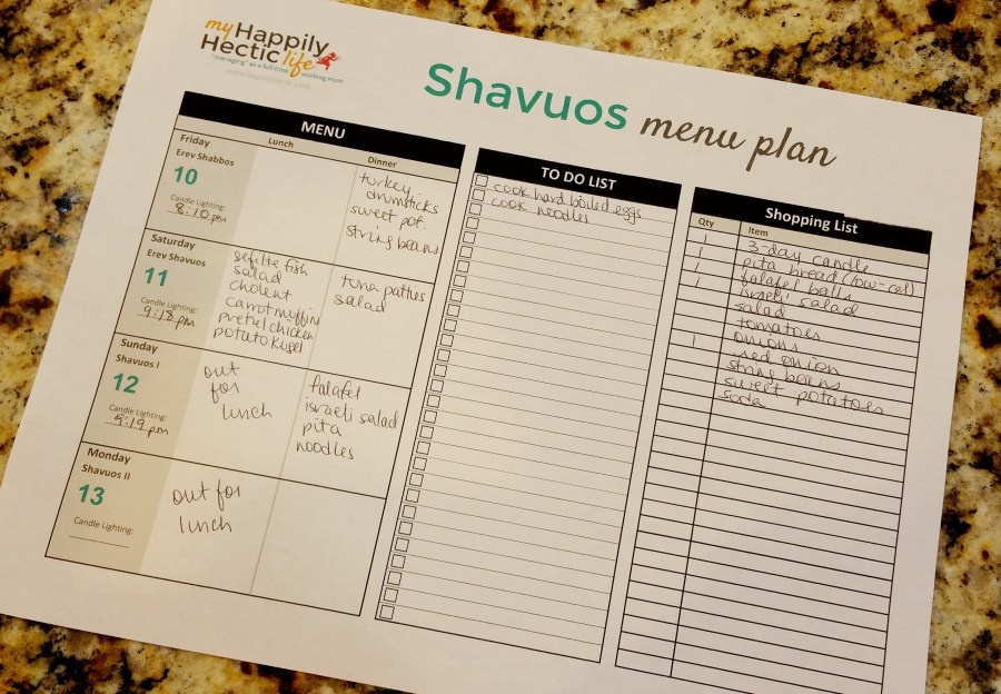 Shavuos Menu Plan - personal