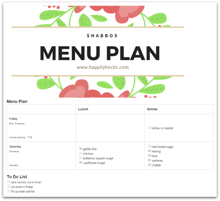shabbos menu plan - evernote screen shot