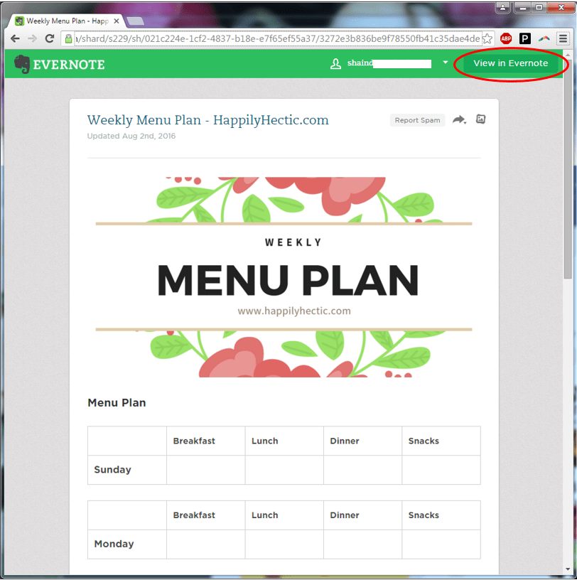 weekly menu plan in evernote
