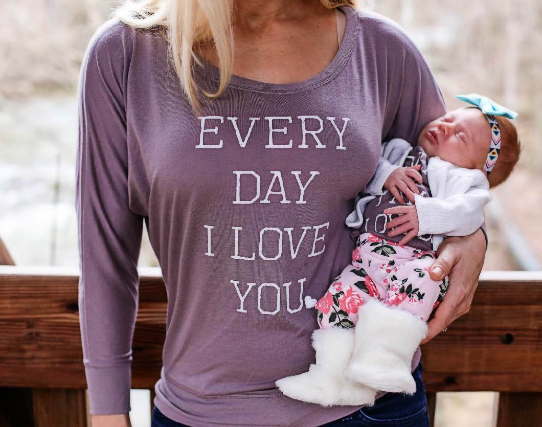 Mom and Daughter Matching Shirts by Atlanta mommy blogger Jessica of Happily Hughes