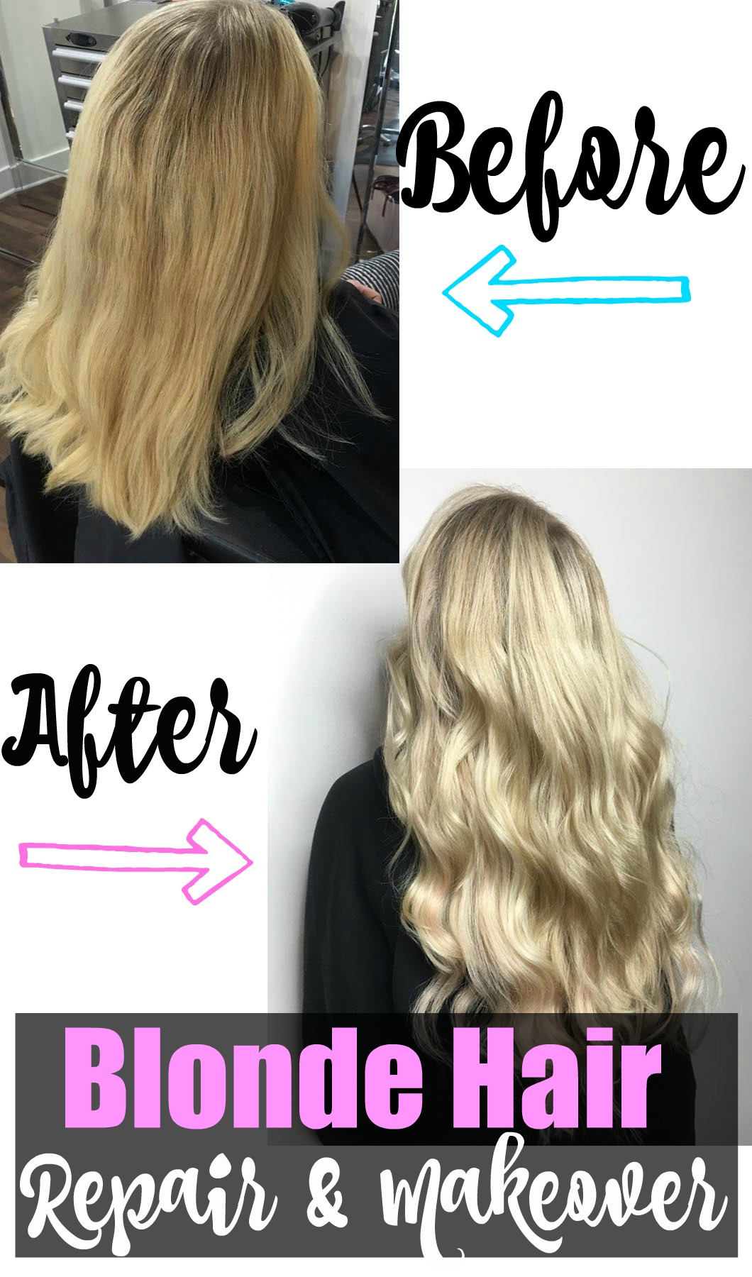 Before and After Blonde Hair Repair and Makeover with Extensions