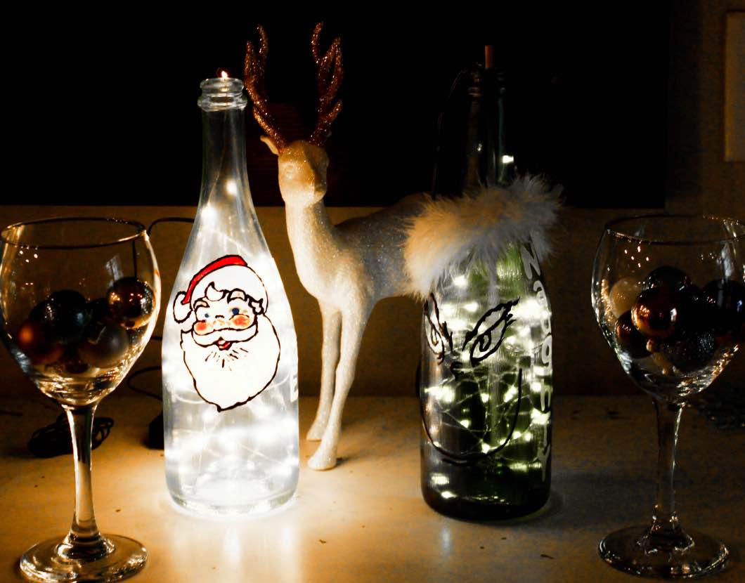 How to Paint Glasses for Christmas - Christmas Painted Wine Bottles by Atlanta style blogger Happily Hughes