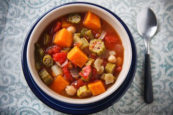 Sweet Potato, Okra and Chickepa Gumbo from blog.fatfreevegan.com