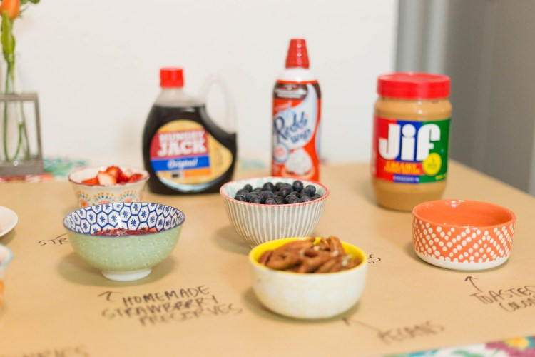 DIY waffle bar and a recipe for homemade strawberry preserves! | read more at happilythehicks.com