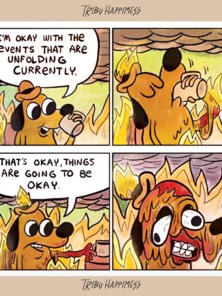 Burning dog comic by KC Green