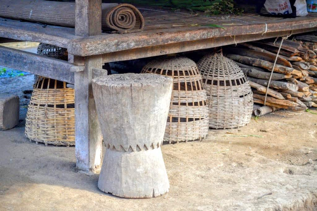 A traditional stool and baskets