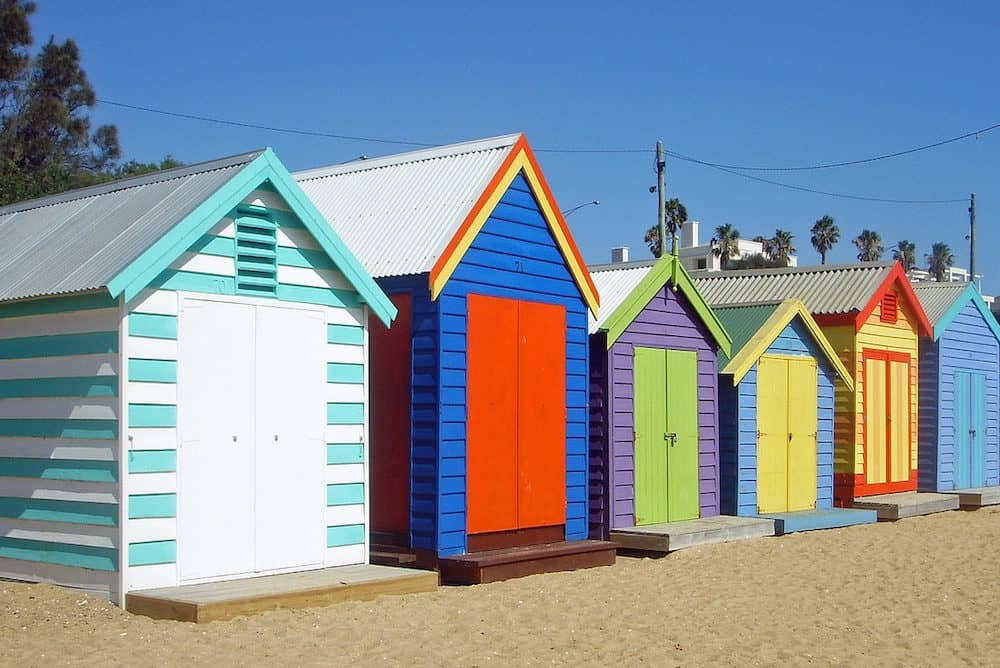 Colourful Brighton bath houses in Melbourne