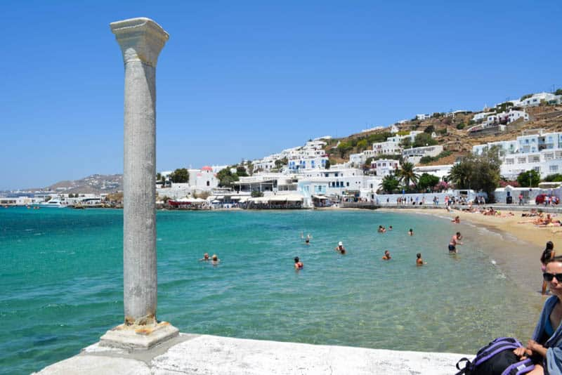 Swimming at the beach in Mykonos