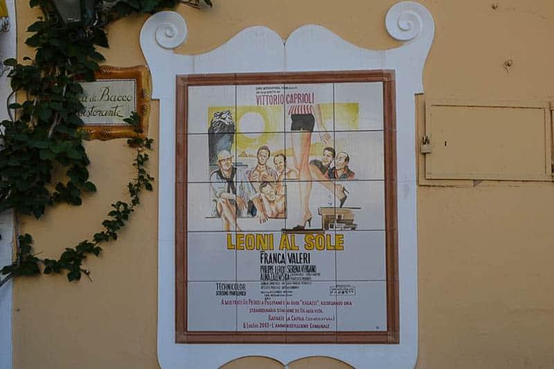 Vintage Italian movie poster as mural tiles