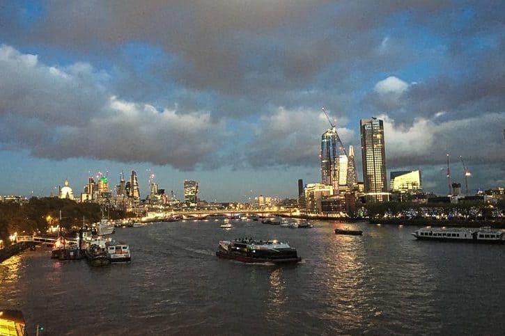 Walking along the Thames at night