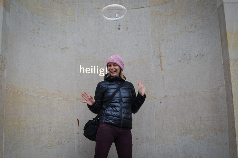 On our first day in Berlin, St Hedwig Cathedral near Museum Island encouraged us to test out a halo.