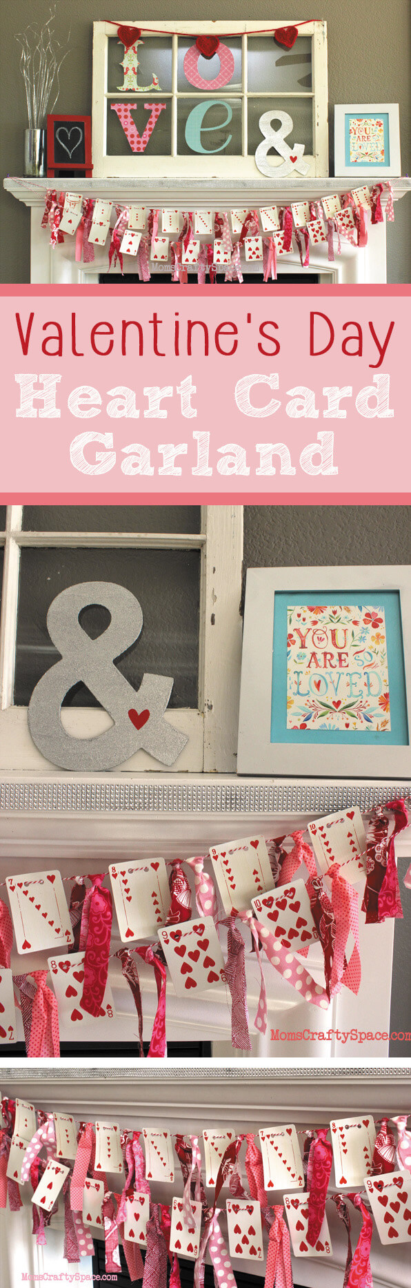 Valentine's Day Heart Playing Cards Banner Garland