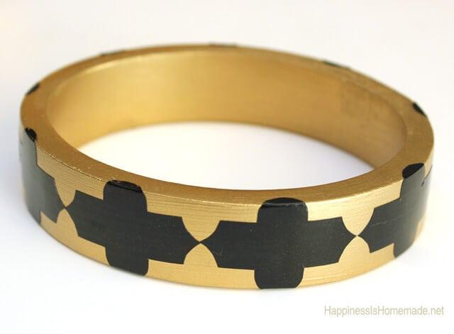 Gold Spray Painted Wood Bangle Bracelet