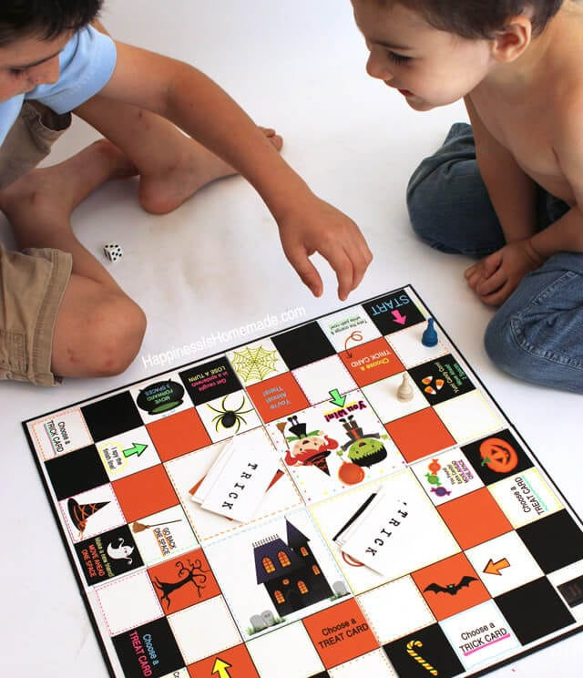 Playing a Homemade Halloween Board Game