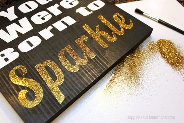 Wood Sign With Glitter Accent Text