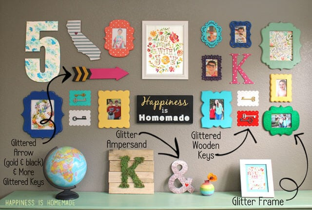 Gallery Wall With Glitter Accents
