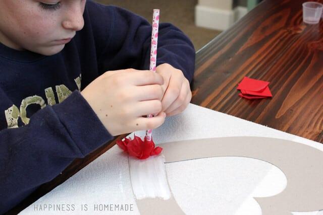 Making a Tissue Paper Heart Wreath