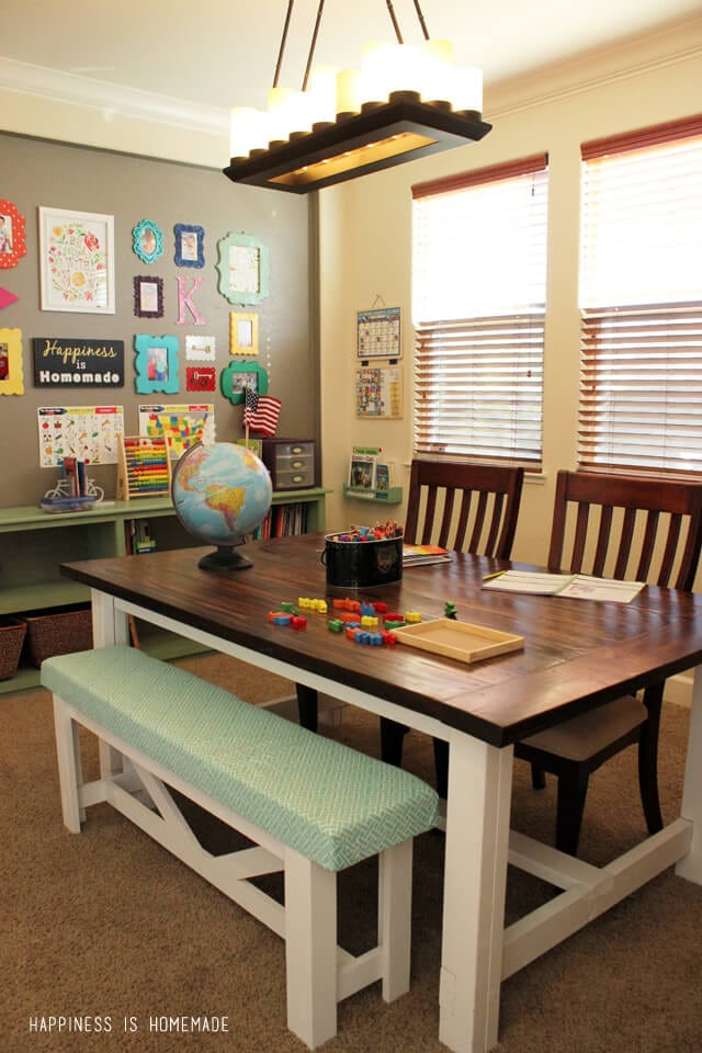 Homeschool Room with DIY Farmhouse Table