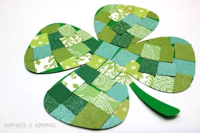 Paper Mosaic Four Leaf Clover Kids Craft
